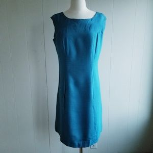 1950s Unlabeled Teal Blue, Cotton Blend, Wiggle D